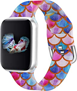 Idealiveny Rubber Band Compatible with Apple Watch Band Series 5 4 3 2 1 Women Silicone Replacement for Iwatch 38mm 40mm 42mm 44mm Double Side Pattern Soft Wristband (Mermaid Scales, 38/40MM-S/M)