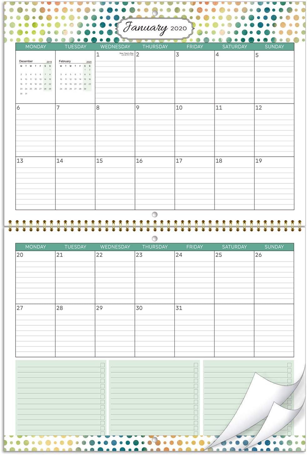 Calendario de pared 2020- mes calendario 2020 para ver dos formas colgantes, con bolsillo interior y bucle para bolígrafo, bloques grandes con reglas, 39x29 cm
