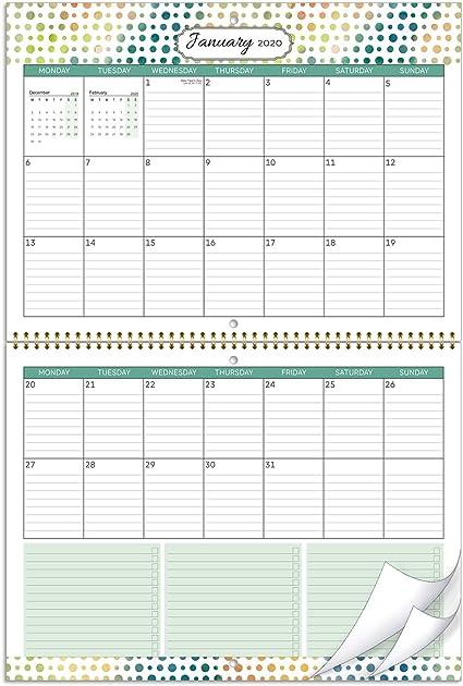 Calendario de pared 2020- mes calendario 2020 para ver dos formas colgantes, con bolsillo interior y bucle para bolígrafo, bloques grandes con reglas, 39x29 cm: Amazon.es: Oficina y papelería