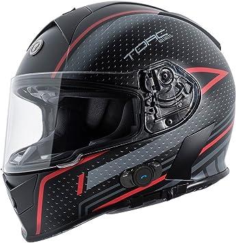 Flat Black Scramble Red Medium Torc T14B Mako Bluetooth Motorcycle Helmet