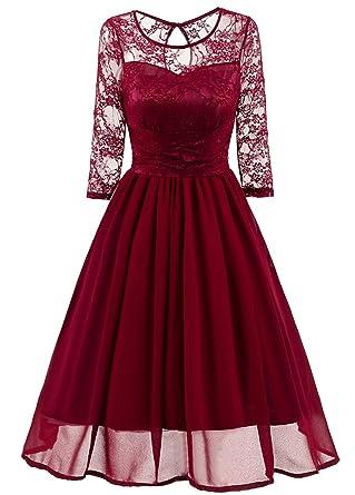 1293f5c5855 WLITTLE Women s Dresses 3 4 Sleeve Lace Evening Dresses