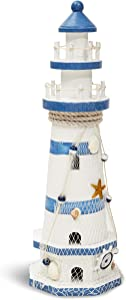 Juvale Wooden Lighthouse Nautical Home Decor (4.75 x 14.5 Inches)