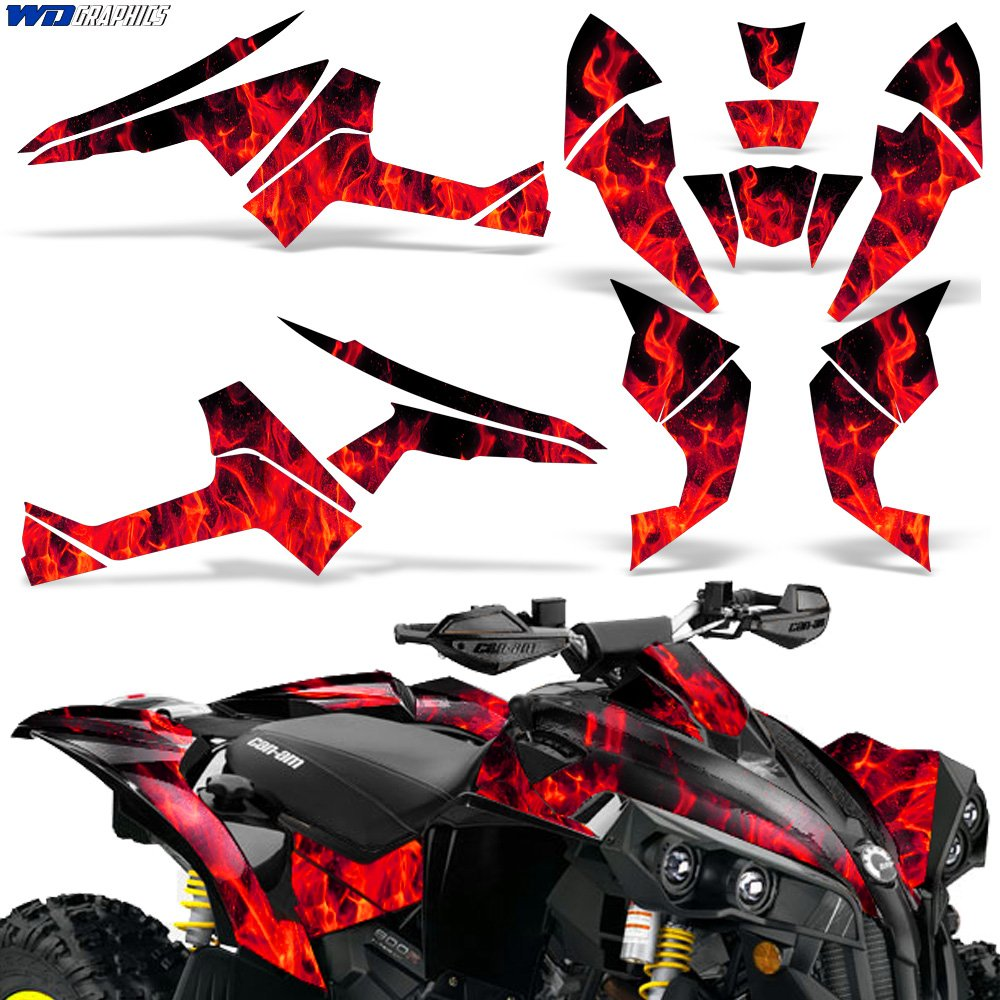 CanAm Renegade X R Graphic Kit ATV Quad Decals Sticker Can Am 500/800/1000 FLAMES RED Wholesale Decals