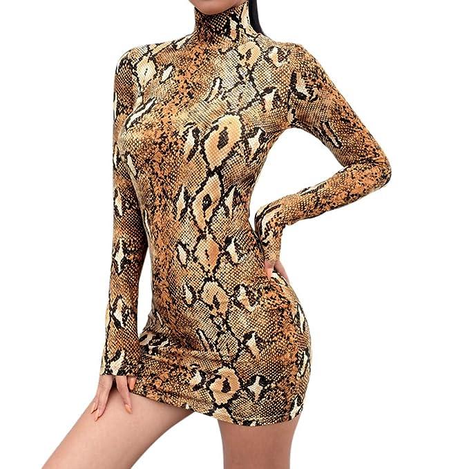 f42df6d90d7c Vovotrade ➤ Abito Donna a Manica Lunga con Collo Alto e Magro Camicia a  Righe con Stampa Serpente Abito Mini Abito Aderente  Amazon.it   Abbigliamento