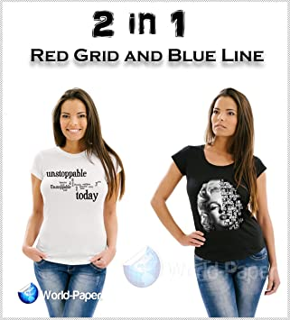Blue Grid Dark Iron On Heat Transfer Paper for Inkjet 8.5 X 11-15 Sheets