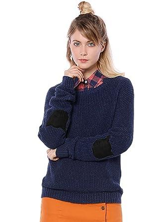 1d330a497a7 Allegra K Women's Drop Shoulder Elbow Cat Patch Loose Sweater XS Blue