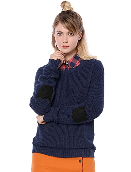 Allegra K Womens Drop Shoulder Elbow Cat Patch Loose Sweater