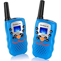 FRS-Walkie-Talkie with Smiley Face as Festival Gifts, Bobela Boys-Walky-Talky 3-Mile Range 22-Channels Built-in Flashlight Loud Speaker Button Lock LCD Display (2 Pack Blue VT8)