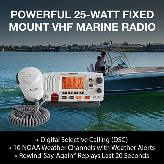 2-Way Submersible Long Range Fixed Mount Class-D DSC with NOAA Weather Alerts COBRA MRF57 W Marine Radio White Includes USA//Canada MR F57W Illuminated Display 1 or 25 Watt Selectable Output VHF Radio