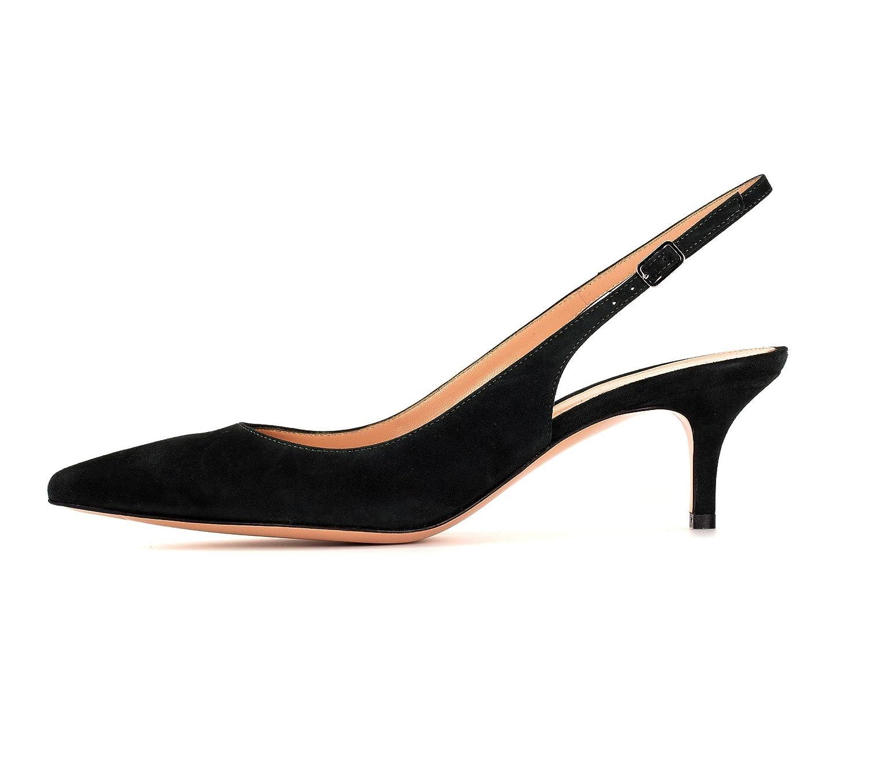 EDEFS Damen 6.5cm Kitten-Heel Slingback Pumps Spitze 6.5cm Damen Mittlerer Absatz Pointed Toe Schuhe schwarz Suede d7d4e9