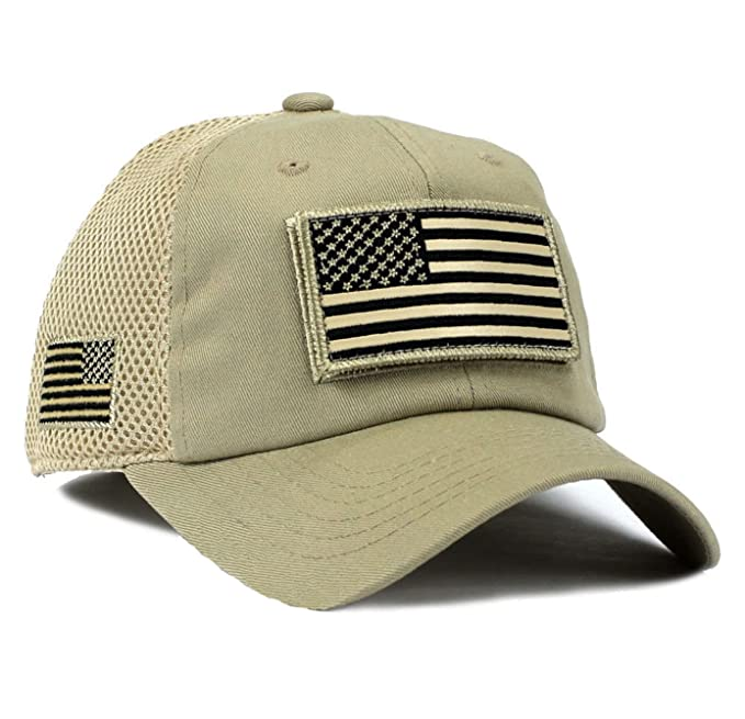 7c15d2430c5 Image Unavailable. Image not available for. Color  USA American Flag Hat  Khaki Detachable Patch Micro Mesh Tactical Cap