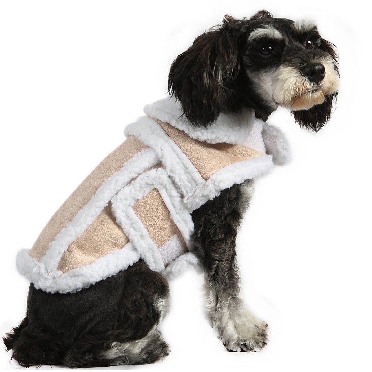 Medium Dog Coat, Faux Buckskin Material is Soft and Comfortable Winter Thick 100% Cotton Jacket for Small Mid-Sized Dog,M