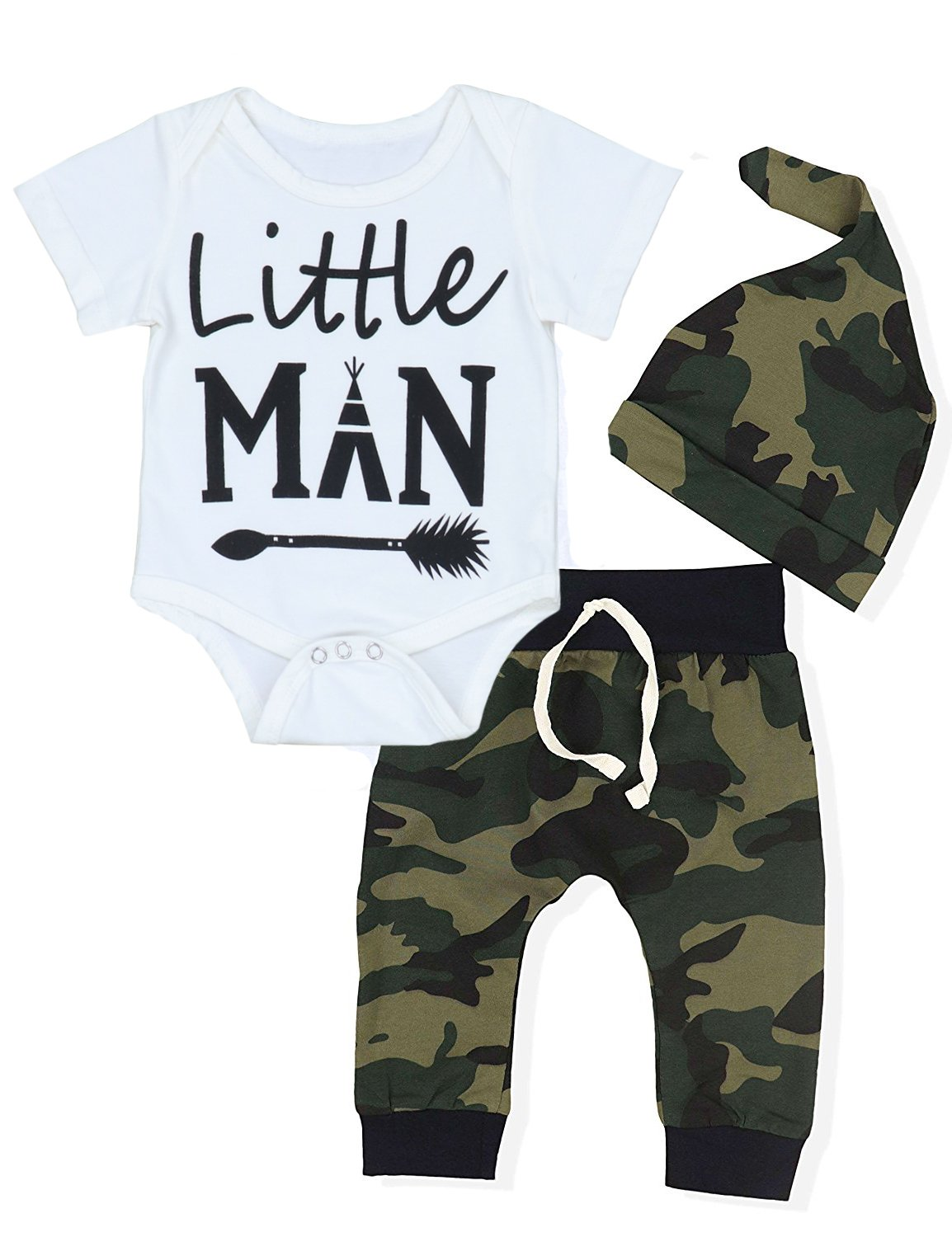 Baby Boys' Clothes Camouflage Rompers Tops + Pants Leggings + Hat Outfits Set (3-6 Months)