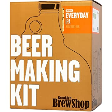powerful Brooklyn Brew Shop Everyday IPA Beer Making Kit: All-Grain Starter Set With Reusable Glass Fermenter