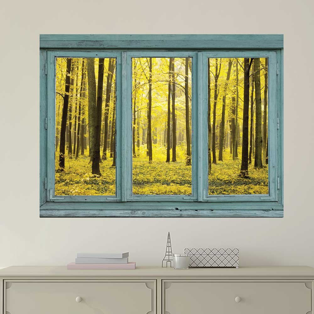 Yellow Forest Wall Mural Removable World Map Wallpaper - Peel ...