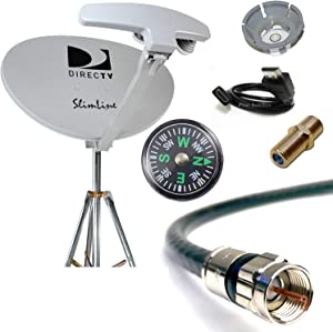 DIRECTV 4K SWM5 Complete Kit for Portable Mobile Camping RV Tailgate Trailer, Tripod, RG6 Coaxial, HDMI Cable, Slimline Dish RB SL5 for UHD GENIE H24 H25 HR34 HR44 HR54 (1 Piece, RB SWM5 RV KIT)