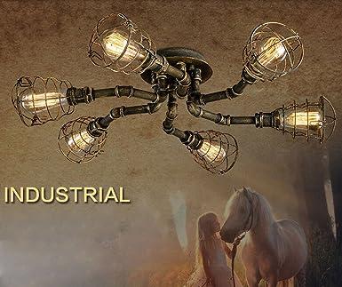 Loft Eisen Deckenleuchte 6 Flammig Retro Industrial Design Deckenlampe  Vintage Decken Leuchte Innen Beleuchtung Wohnzimmer Esszimmer