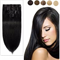 "8pcs Real Remy Clip in Human Hair Extensions Natural Long Straight Full Head for Women Beauty-#1B Natural Black 22""-110g"