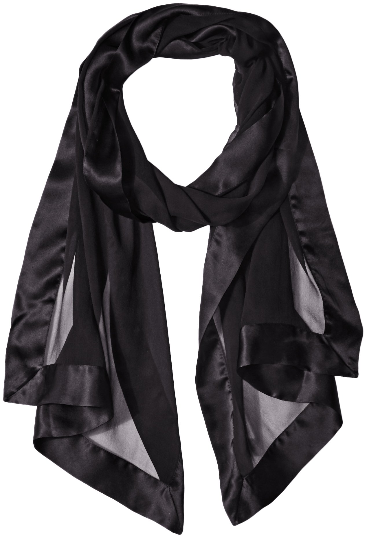 Echo Women's Silk Chiffon Evening Wrap with Satin Border, Black, One Size