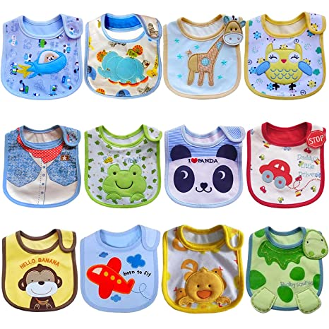 SLOSH 12 Baberos Impermeables Bebe Bandana Velcro para Recien Nacido (Unisex 12pcs)