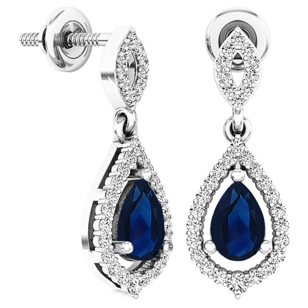 Sterling Silver 6X4 MM Each Pear Blue Sapphire & Round White Diamond Ladies Dangling Drop Earrings