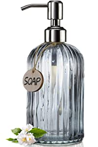 JASAI 18 Oz Vertical Striped Kitchen Soap Dispenser with 304 Rust Proof Stainless Steel Pump, Refillable Liquid Soap Dispenser for Bathroom, Kitchen, Hand Soap, Dish Soap (Clear Grey)