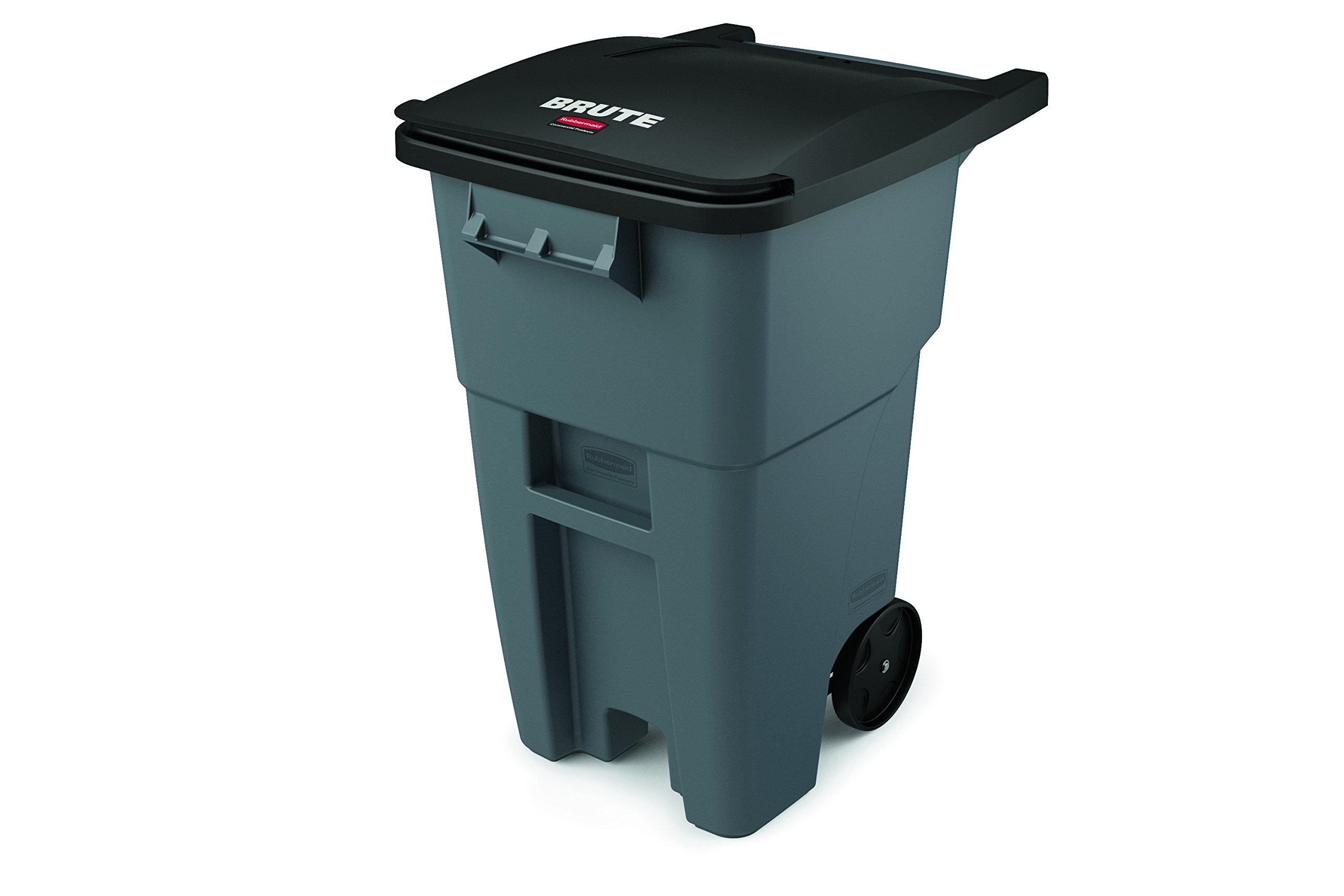 Rubbermaid Commercial Products BRUTE Heavy-Duty Rollout Waste/Utility Container, 50-gallon, Gray (FG9W2700GRAY)
