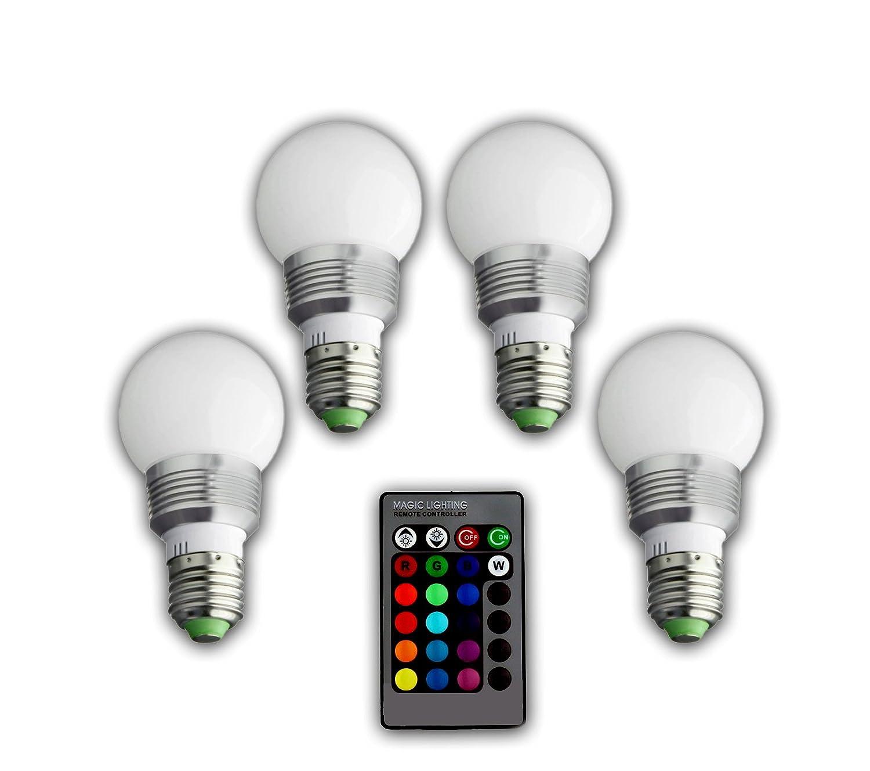 BlueBD GmbH - Lote de bombillas LED RGB (4 unidades, E27, 3 W, con mando para cambiar a control remoto el color de las luces): Amazon.es: Iluminación