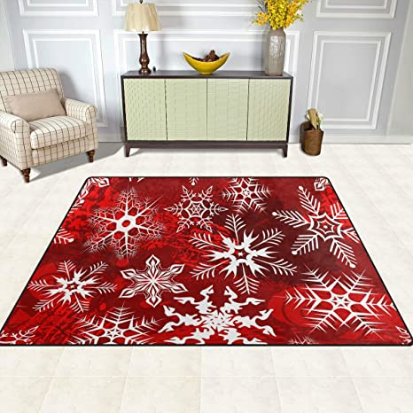 Christmas Area Rugs Area Rug For Living Room Bedroom Home Decorative 5 X 4 Hipster Red Pattern With Snowflakes Flower Kitchen Dining