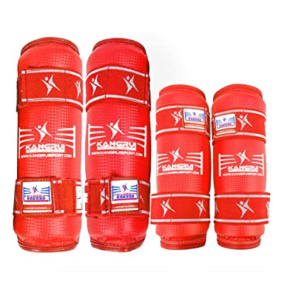 Taekwondo équipement de protection Coude et protection de jambe Rouge S