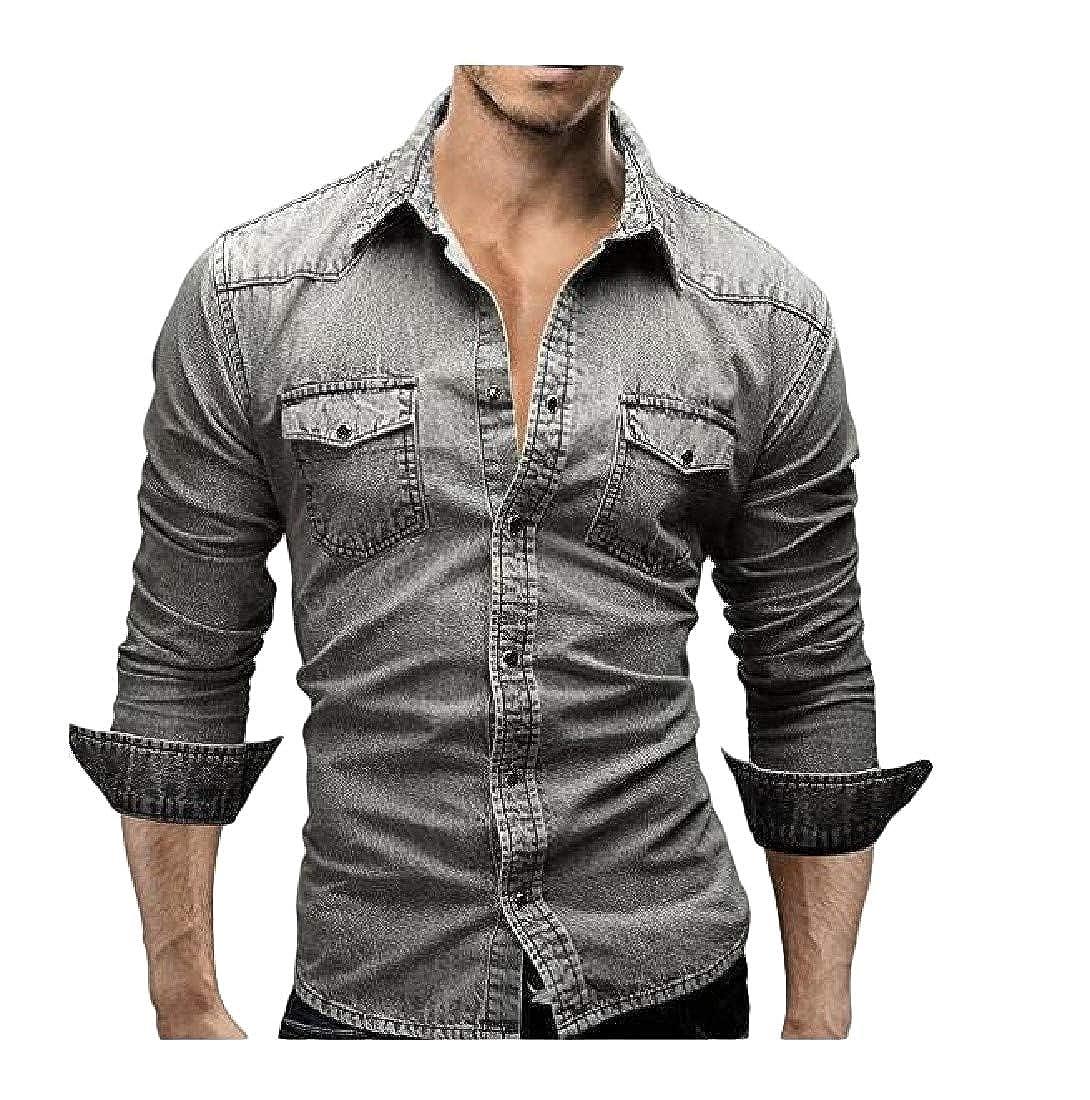 KXP Mens Washed Jean Slim Button Down Denim Long Sleeve Shirt