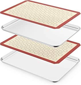 Large Baking Sheet with Silicone Mat Set,Cookie Sheet Set of 4 & Zacfton Stainless Steel Baking Pan with Silicone Mat, Size 20 x 14 x 1 inch, Non Toxic & Heavy Duty & Easy Clean