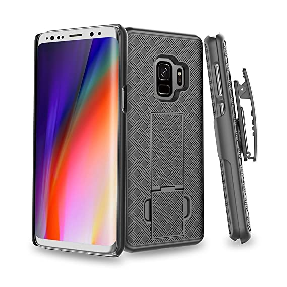 buy online a9870 8ed4d Wydan Case for Galaxy S9 Plus - Combo Shell Holster Swivel Belt Clip Slim  Phone Cover Built- in Kickstand for Samsung