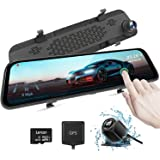 """AUTOWOEL 2.5K Mirror Dash Cam, 12"""" Touch Screen Front and Rear Dual Dash Camera for Cars, Super Night Rear View Mirror Camera"""