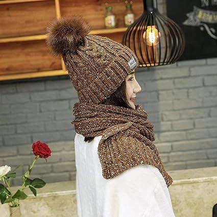 b095aa1d1213 iSpchen Thermique Ensemble Hiver en Tricot écharpe et Bonnet pour Femme  Fille(Kaki)  Amazon.fr  High-tech