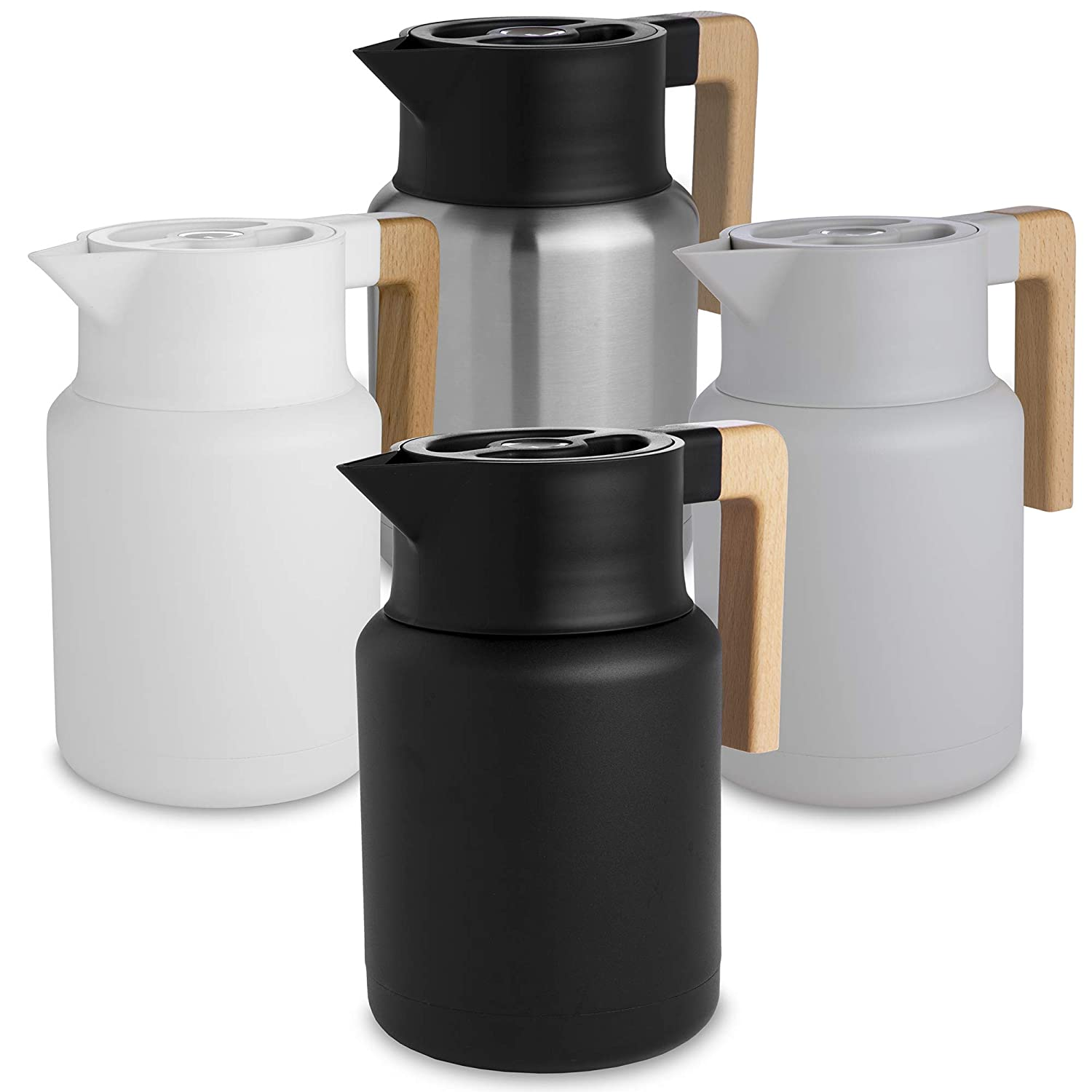 Stainless Steel Double Walled Thermal Pots For Coffee and Teas by Hastings Collective Black 50 Fl Oz. Large Thermal Coffee Carafe Vacuum Carafes With Removable Tea Infuser and Strainer