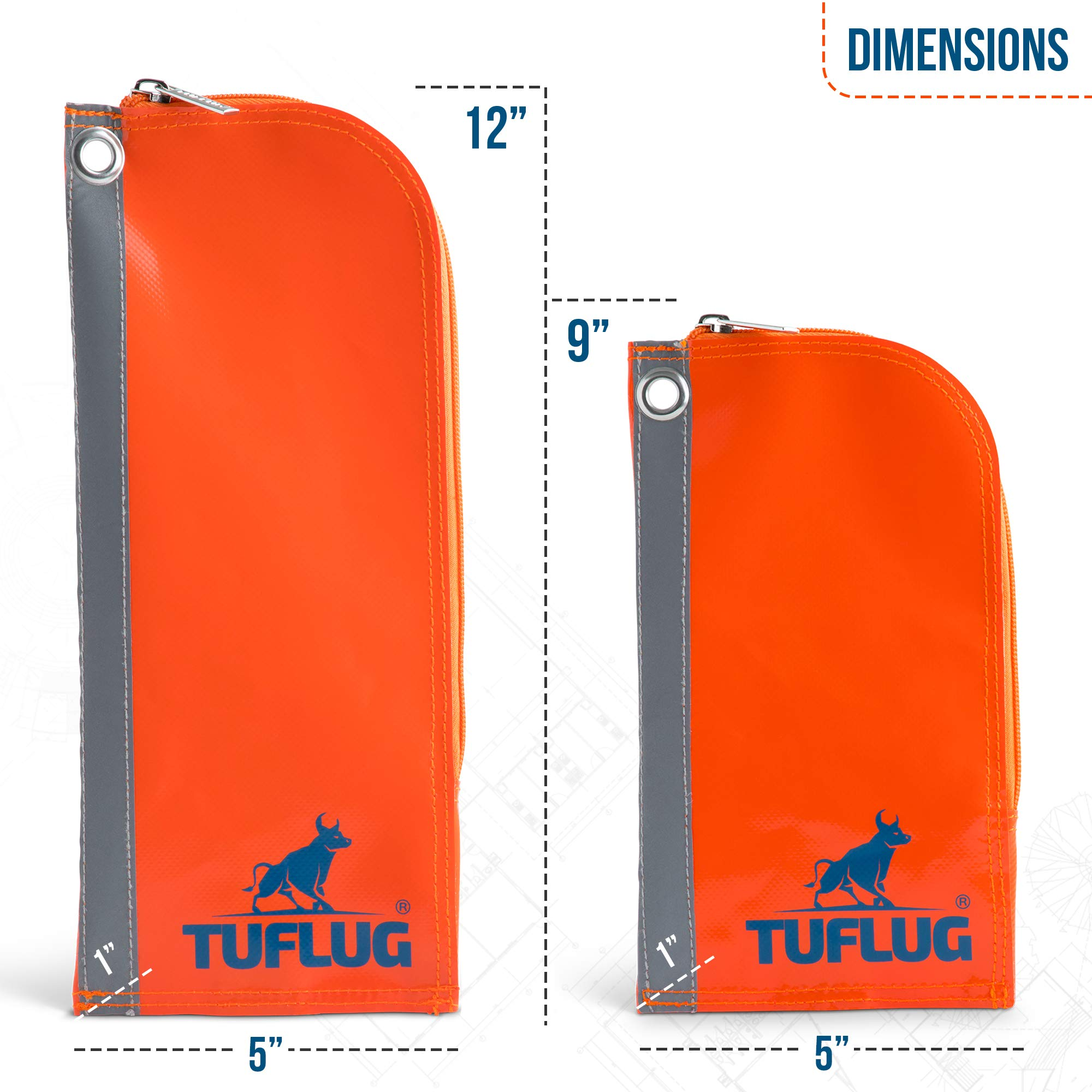 Heavy Duty Zipper Tool Pouch, 2 Pack, 12inch and 9inch - Waterproof, Lightweight, Multipurpose Utility Bag Carry Case For Small Tools - Storage Pouches, Accessories for Work Belts - PVC, Canvas by TUFLUG (Image #2)