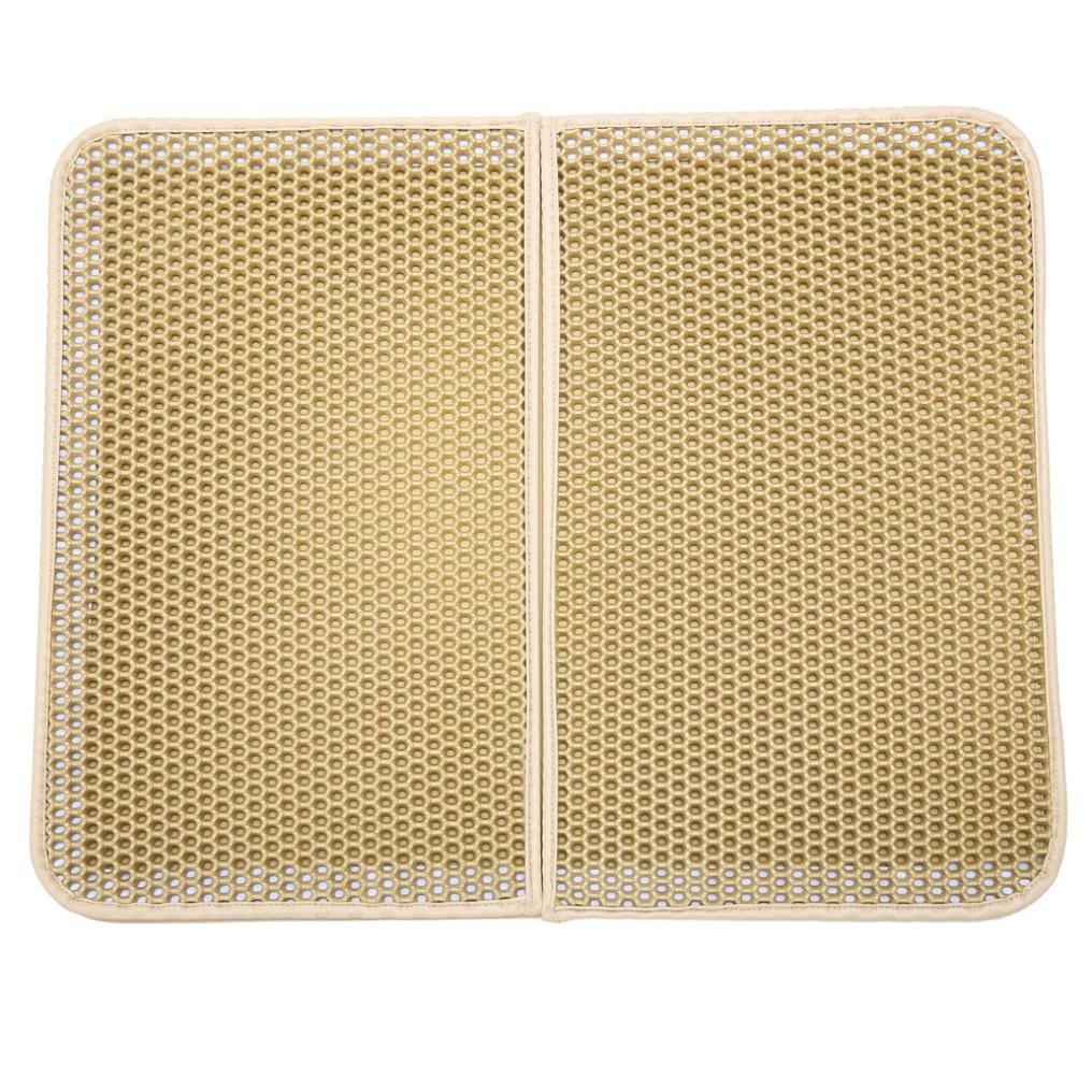 Yeefant Double-Layer Honeycomb Trapper with Waterproof Base Feeding Mat Placemat Waterproof Cat Litter Mat,Sensitive Paws and Easy to Clean,16x20 Inch,Beige