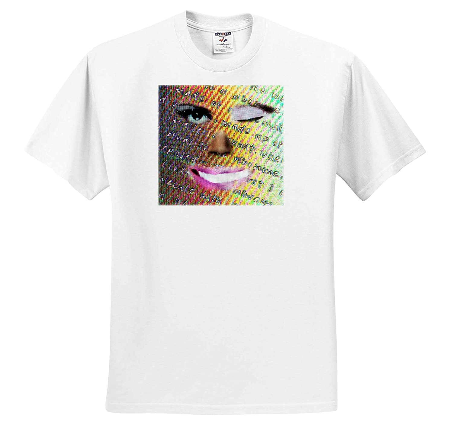3dRose Jos Fauxtographee A Smile and a Wink on a Ladies face Blended from Others Jos Faux Mixed Face Smile T-Shirts