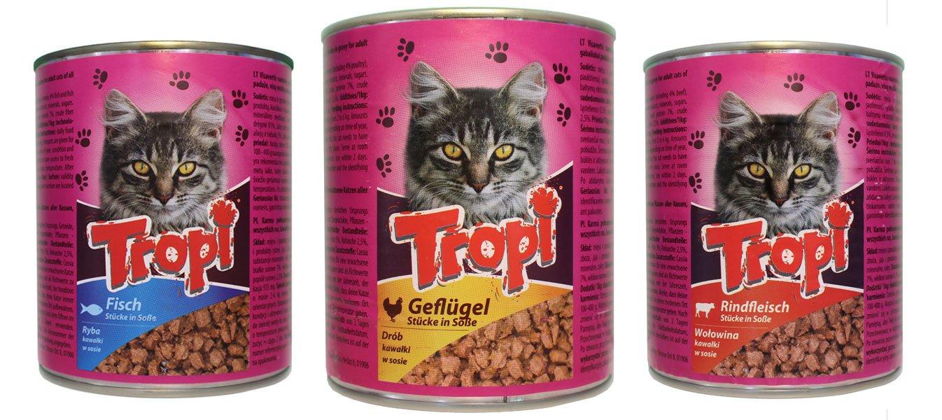 Tropi gato Forro Aves, vacuno y pescado en salsa - probier Paquete - 3 y 6 latas (830g latas): Amazon.es: Productos para mascotas