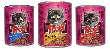 Tropi gato Forro Aves, vacuno y pescado en salsa – probier Paquete – 3 y