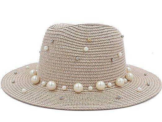 Oudan Sombreros y Gorras Mujer Hombre Verano Paja Toquilla con Sombrero de  Perla para Dama Elegante con ala Ancha Homburg Fedora Sunbonnet Beach  Sombrero ... aa3dbc98a74
