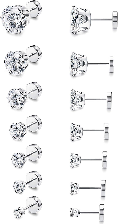 ORAZIO CZ Stud Earrings for Women Men Stainless Steel Cubic Zirconia Earrings Set Screwback