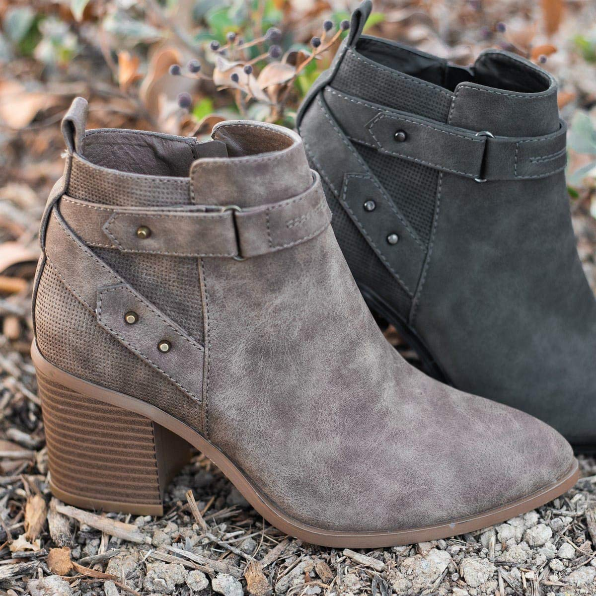 Naliyhome Womens Fall Winter Ankle Boots Buckle Strapped Booties Chunky High Heel