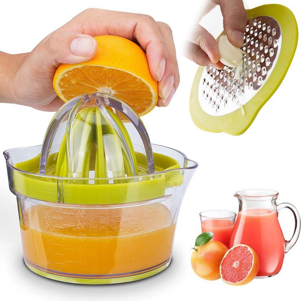 Citrus Juicer Lemon Orange Juicer Manual Hand Squeezer Press + Measuring Cup Kitchen Tools Garlic Grater