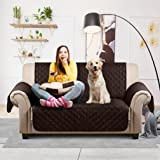 "Auralum Reversible Quilted Sofa Furniture Protector for Kids Pets Couch Cover Waterproof Anti Slip Cover with Strap ,66"" x 44"",Loveseat, Chocolate/Beige."