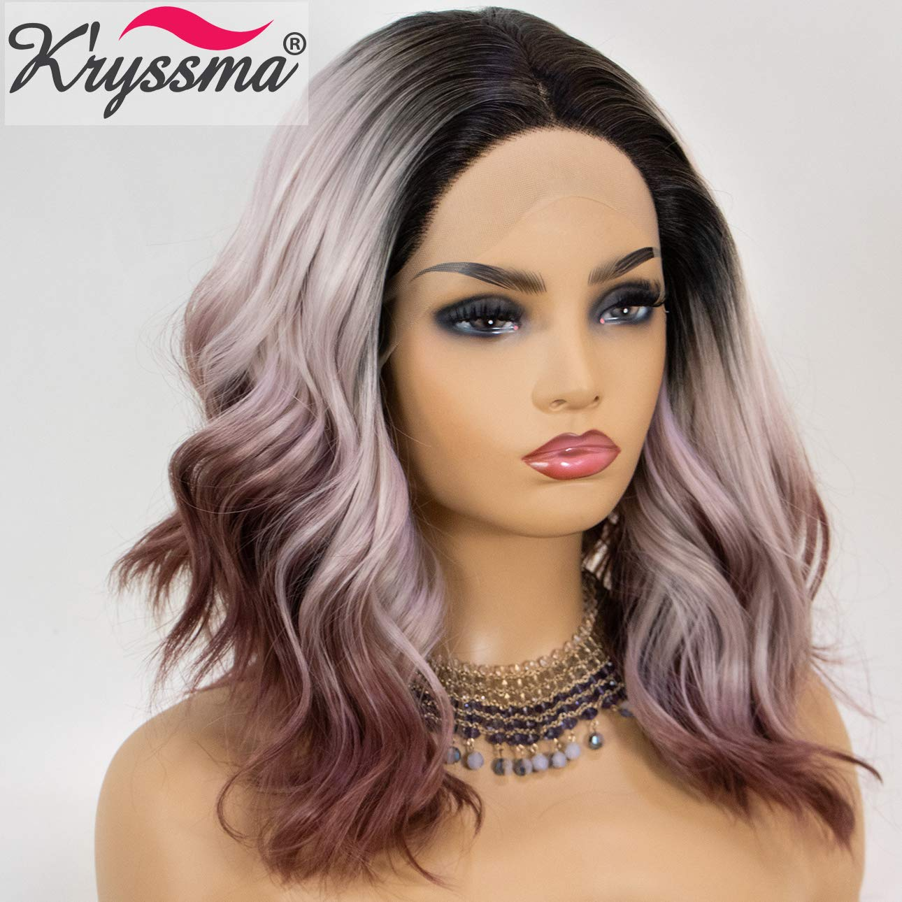 K'ryssma 3 Tone Ombre Lace Front Wig Colorful