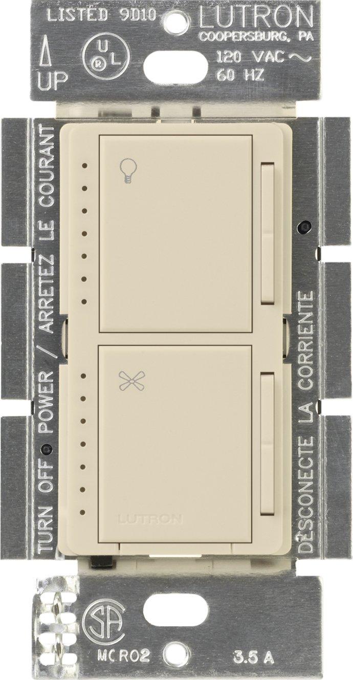 Lutron MA-LFQM-ES Maestro 300-Watt Multi-Location Digital Dimmer 1-Amp Quiet Fan Control with Canopy Module, Eggshell