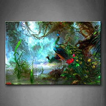 Two Peacocks Walk In Forest Beautiful Wall Art Painting The Picture Print  On Canvas Animal Pictures