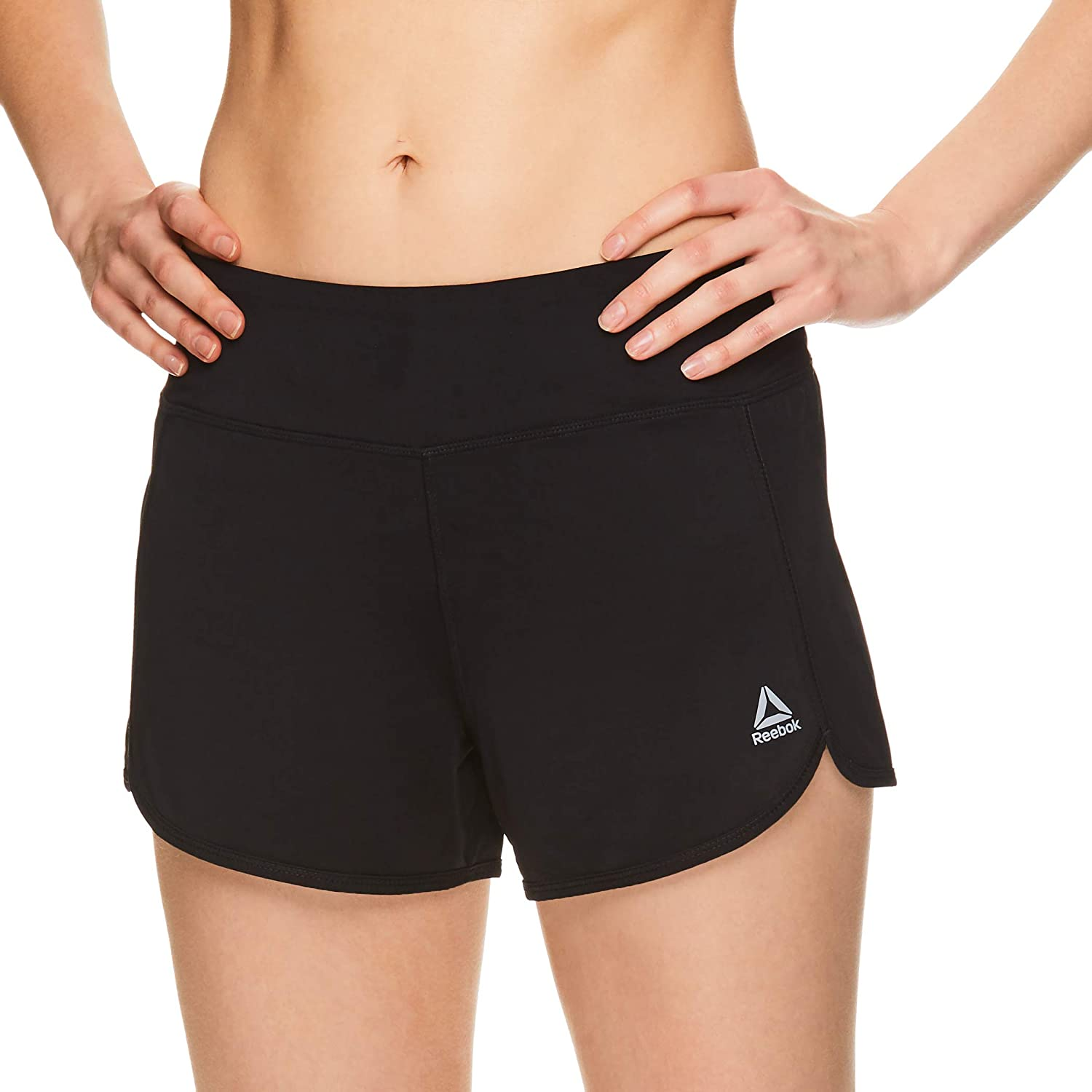 Reebok Workout Ready Shorts Womens Bottoms Lightweight Drawcord Mid-Rise Ladies
